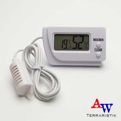 aw terraristik digitales thermometer hygrometer mit f hler. Black Bedroom Furniture Sets. Home Design Ideas